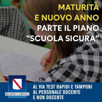 """Regione Campania: via al piano """"Scuola sicura"""""""