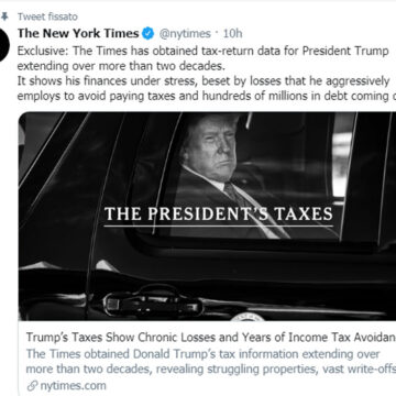 USA: Trump non paga le tasse. Lo scoop del New York Times