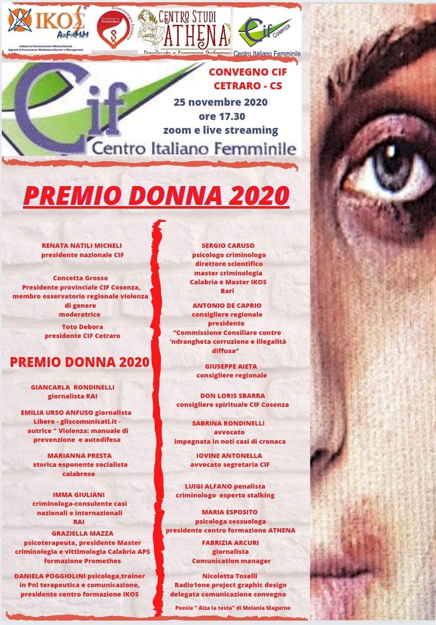 Giornata Internazionale Contro la Violenza sulle donne: il Centro Italiano Femminile organizza un Convegno online e assegna il Premio Donna 2020 al nostro direttore responsabile, Emilia Urso Anfuso